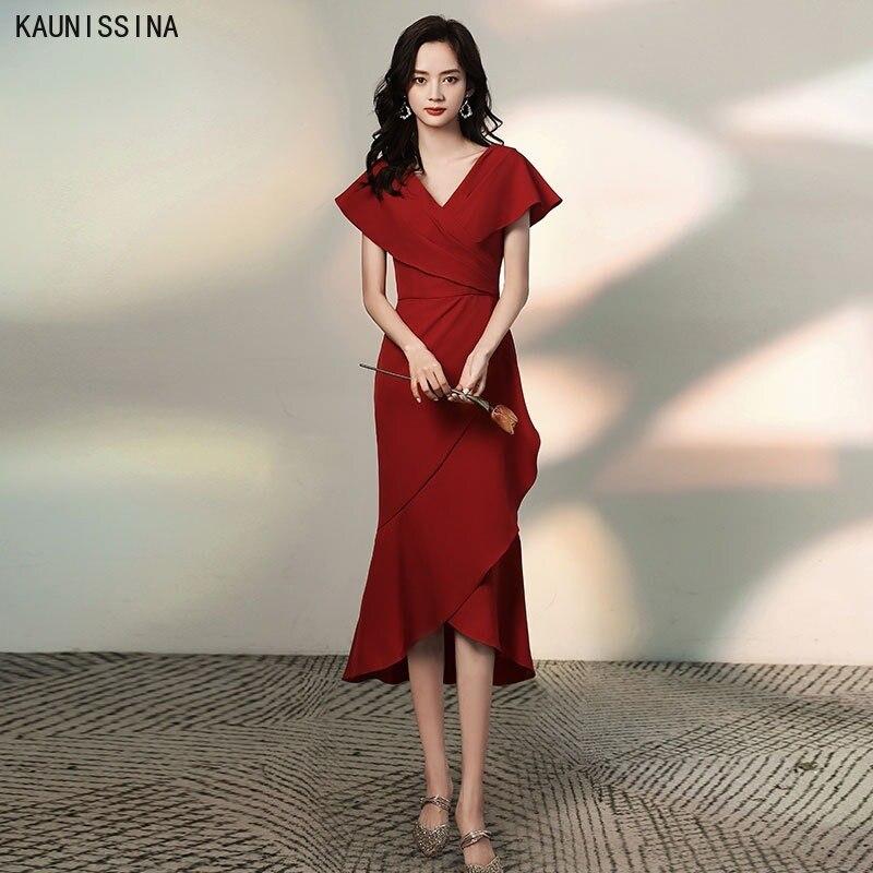 KAUNISSINA-فستان كوكتيل نسائي بتصميم حورية البحر غير متماثل ، ياقة على شكل v ، أكمام قصيرة ، أنيق