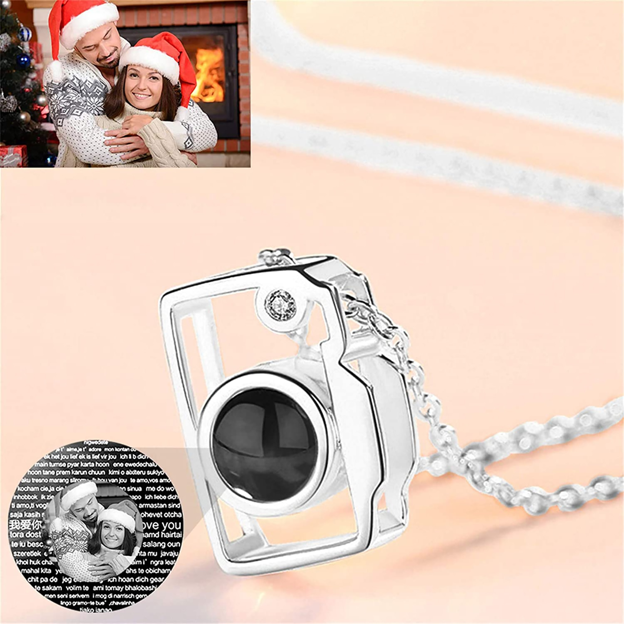 100 Language Camera Pendant Necklace Personalized Photo Name Romantic I Love You Projection Necklace For Women Girl Ladies Gifts i fear you girl