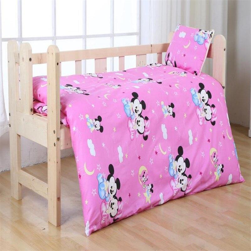 ديزني 3 قطعة طفل المهد 100% القطن الفراش مجموعات الوردي ميني ميكي ماوس الأميرة الكرتون لحاف غطاء الفتيات الأطفال 60x120 سنتيمتر المهد