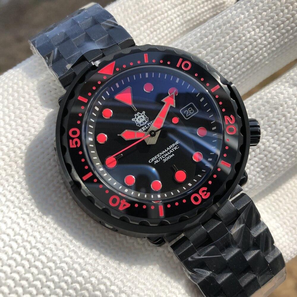 Steeiالغوص SD1975XP PVD الأسود التونة الغوص ساعة NH35 ساعة أوتوماتيكية رجل ساعة ميكانيكية السيراميك الحافة 300 متر الغوص ساعة ساعة رجالي