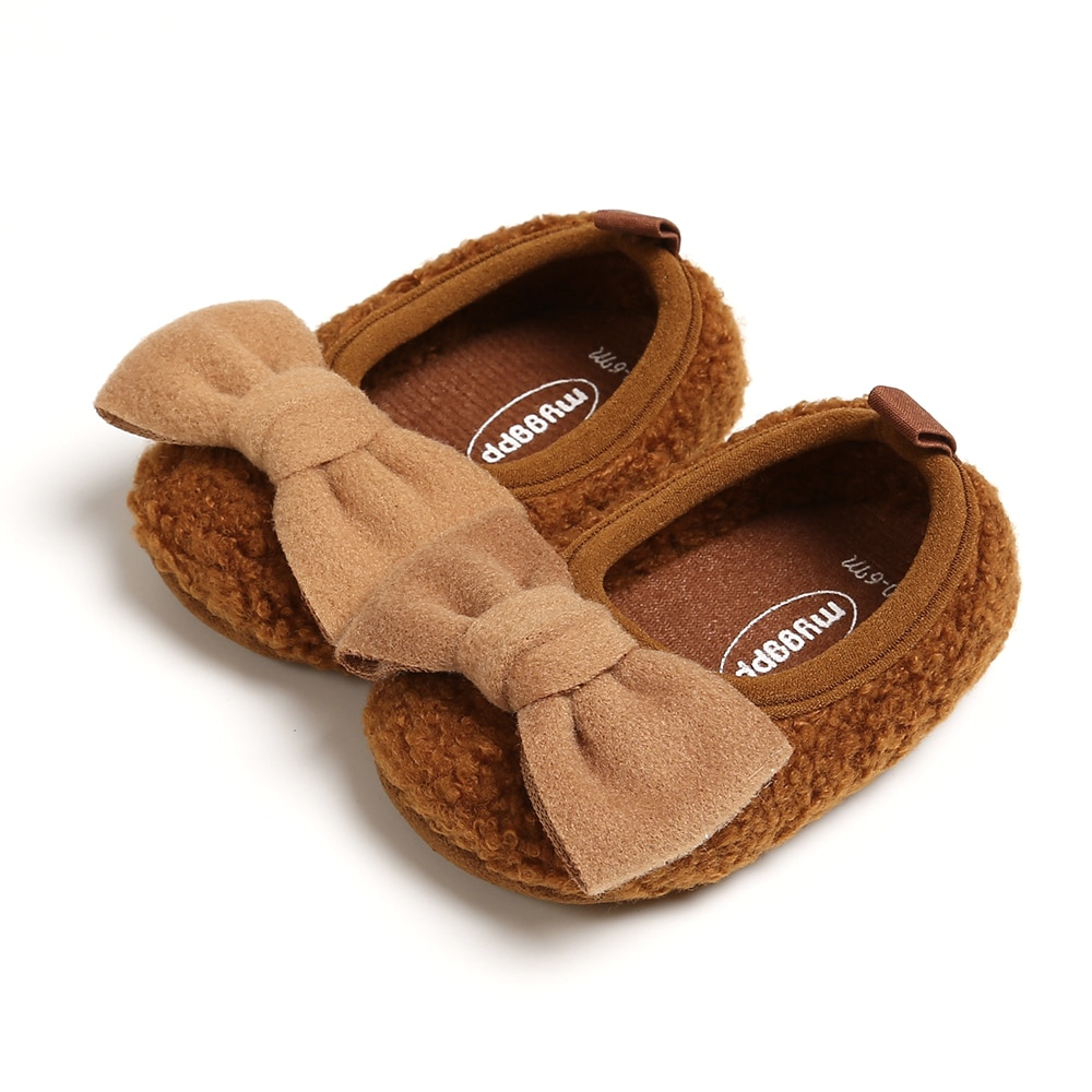 Plush Bowknot Anti-Slip Casual Sneakers Baby Shoes Infant Girl Shoes Sweet Toddler Soft Soled Walking Shoes