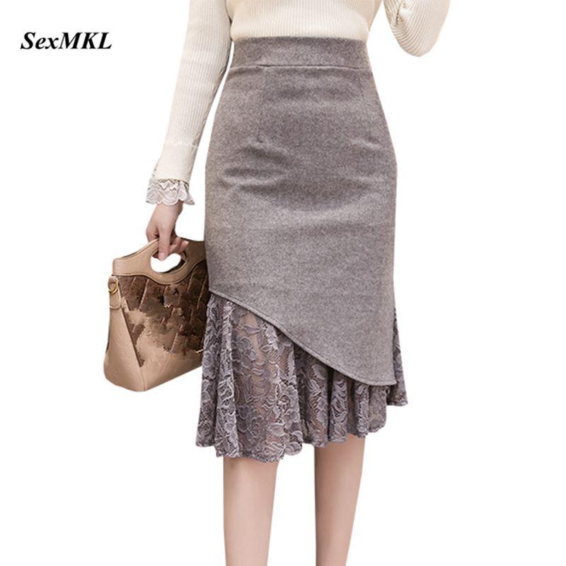 SEXMKL Faldas Mujer Moda 2020 Women High Waist Lace Patchwork Skirts Korean Streetwear Jupe Femme Midi Pencil Skirt Plus Size