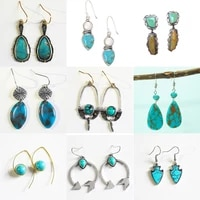 high quality vintage ethnic drop earrings boho retro blue stone dangle earrings for women statement earrings fashion jewelry