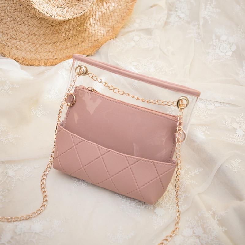 Bolso de jalea transparente para mujer, bolso de hombro transparente, Mini bandolera cruzada de PVC, bolso de teléfono, bolso de mujer