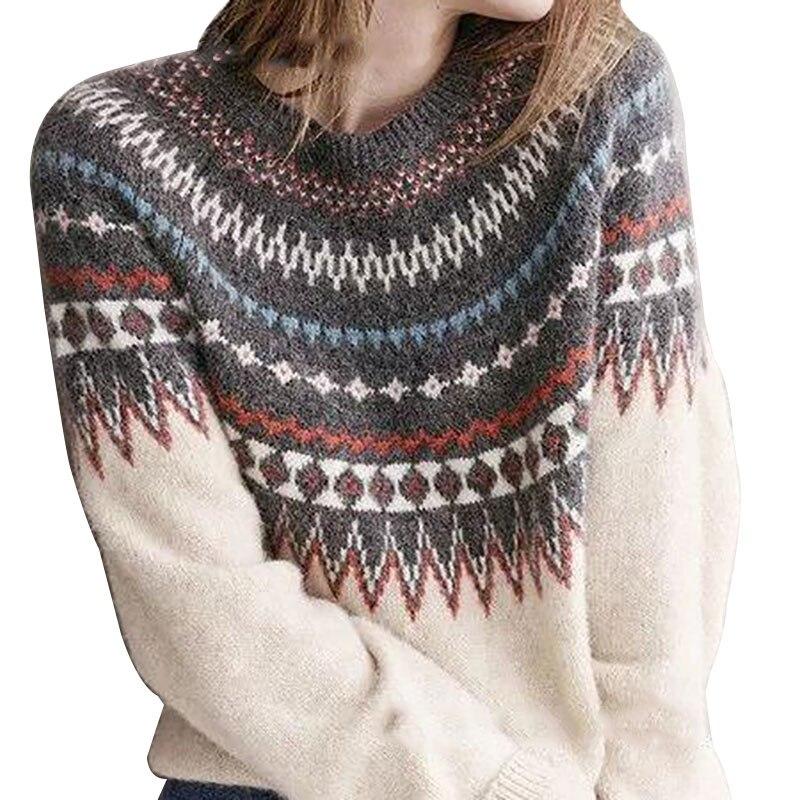 Jersey informal de moda para mujer, camisa de manga larga de Color con colores combinados, Top de punto con cuello en V, abrigo de punto holgado 2XL