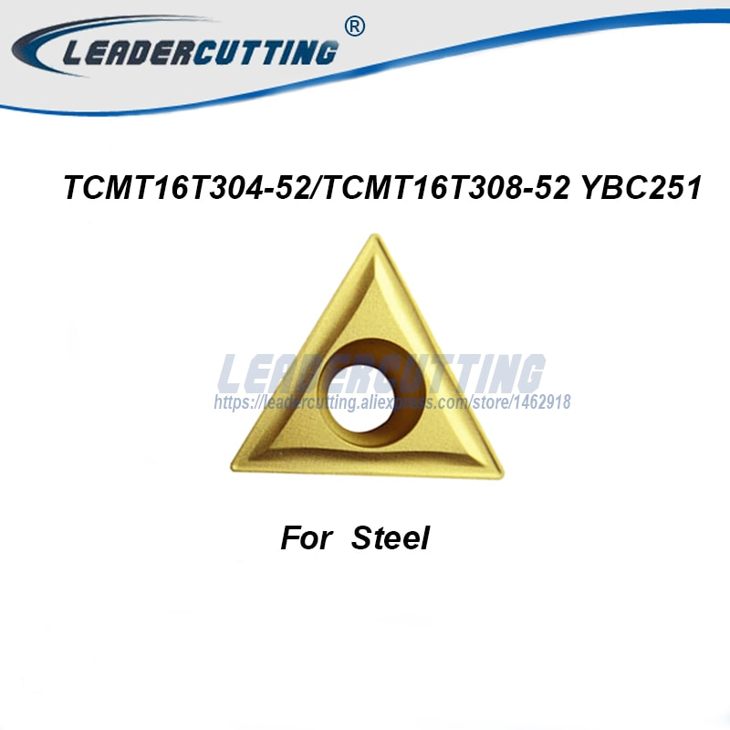TCMT16T304-52 YBC251 TCMT16T308-52 YBC251 * 10 Uds insertos de giro, cuchilla de corte para soporte STGCR/STFCR, punta giratoria para acero