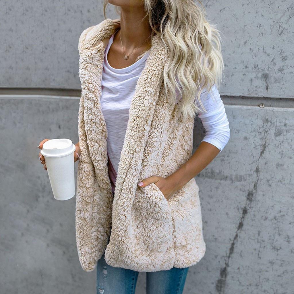 Moda colete de pele do falso cardigan feminino inverno colete moda elegante bolsos quente outwear casaco das mulheres hoodies casacos femininos senhoras