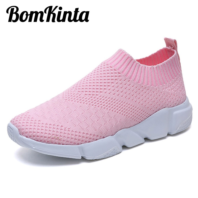 BomKinta Brand Summer Breathable Casual Sock Shoes Woman Stretch Lady Flats Slip On Lightweight Loafers Women Shoes Size 35-42