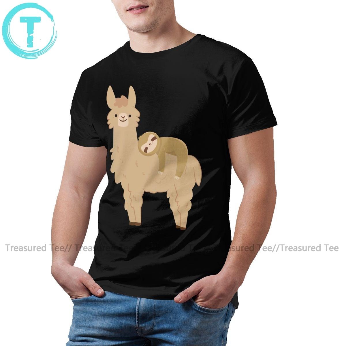 Llama t camisa adorável preguiça relaxante camiseta 100 por cento algodão dos homens camiseta xxx bonito gráfico casual tshirt