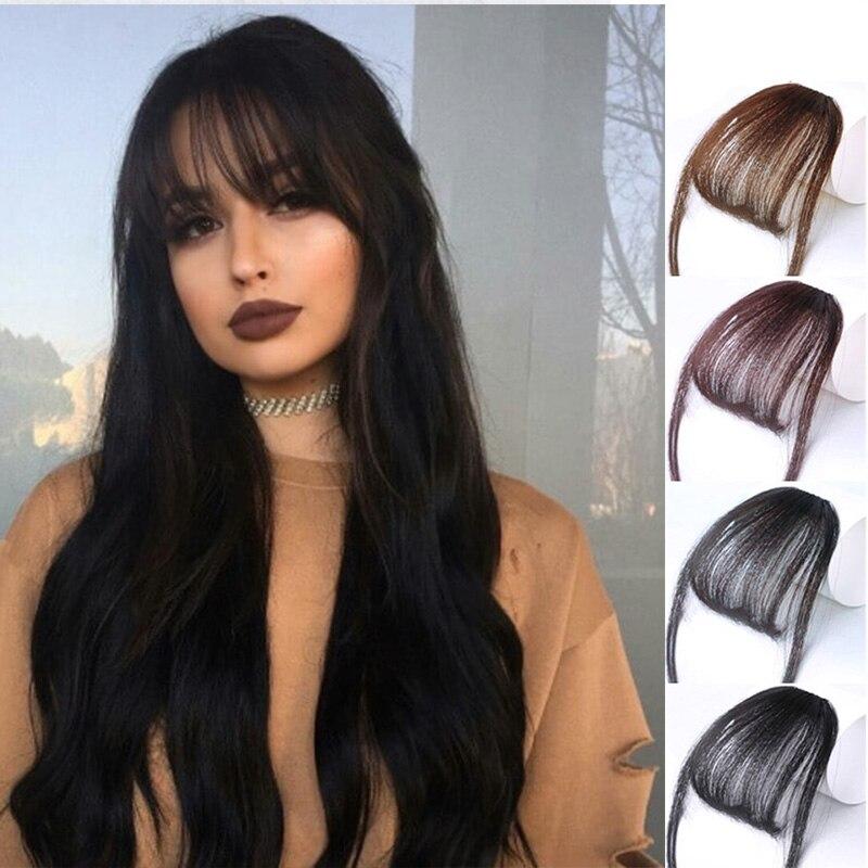 HOUYAN 6 pulgadas falso flequillo Clip peluca negro marrón Rubio sintético flequillo extensiones de cabello para las mujeres adultas de moda