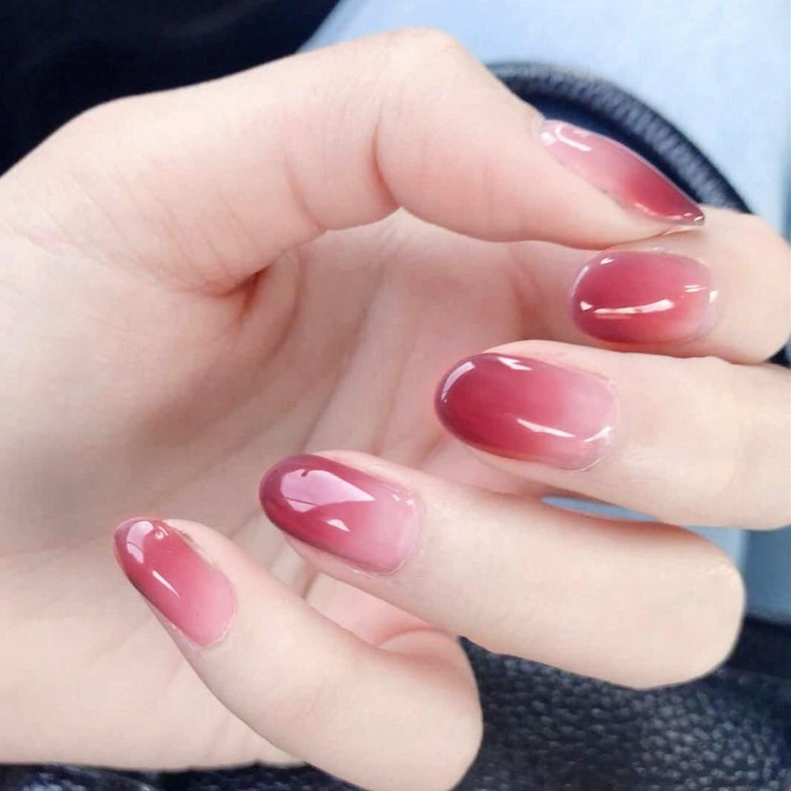 24 pçs oval tipsy gradiente cor-de-rosa unhas falsas com desenhos dicas de unhas capa completa falso arte do prego falso ongles unhas presente
