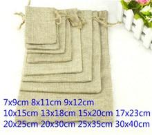 1pcs Linen Jute Drawstring Gift Bags Sacks Wedding Birthday Party Favors Drawstring Gift Christmas Bags Baby Shower Supplies