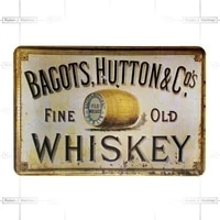 retro tin paintings customized whiskey logo decorative advertising rustic plates vintage metal signs tin signs for hanging signs