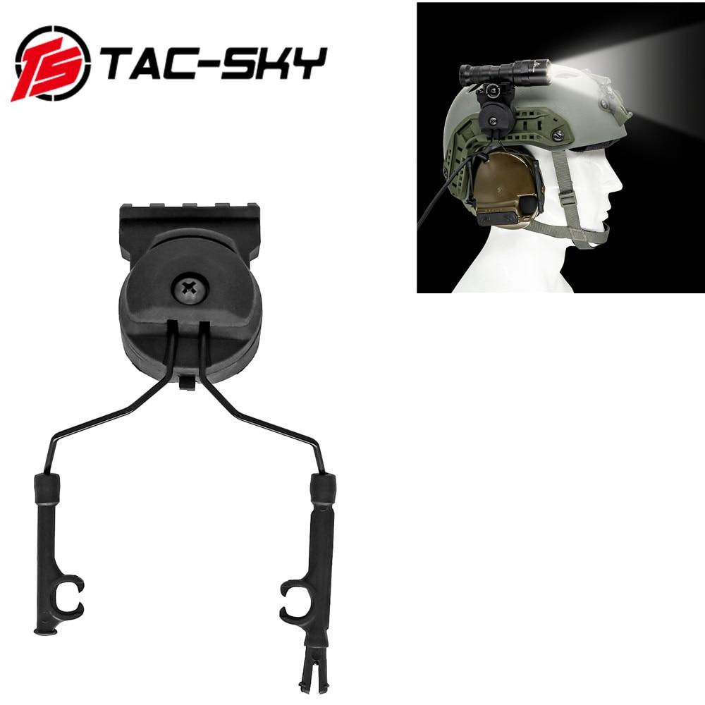 TAC-SKY soporte de linterna táctica para casco adecuado para auriculares tácticos PELTOR bracket Fast Ops Core ARC rail adapter