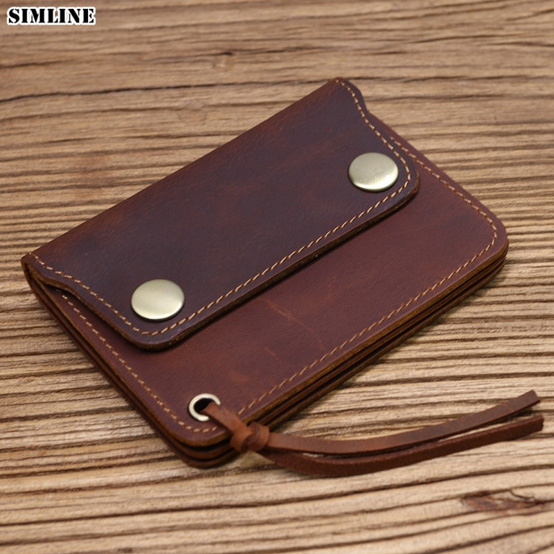 2021 Genuine Leather Wallet For Men Male Brand Vintage Handmade Short Small Men's Purse Card Holder