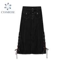 Black Single Breasted Long Denim Skirt Women Autumn 2020 Korean Casual High Waist Pockets Vintage La