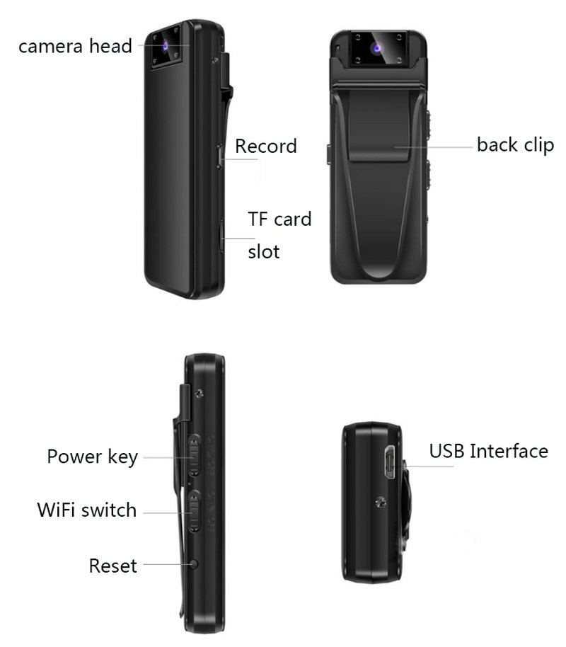 Camera HD Car DVR Video Security Cam IR Night Vision Back Clip Magnetic Mini Camcorders police camera enlarge