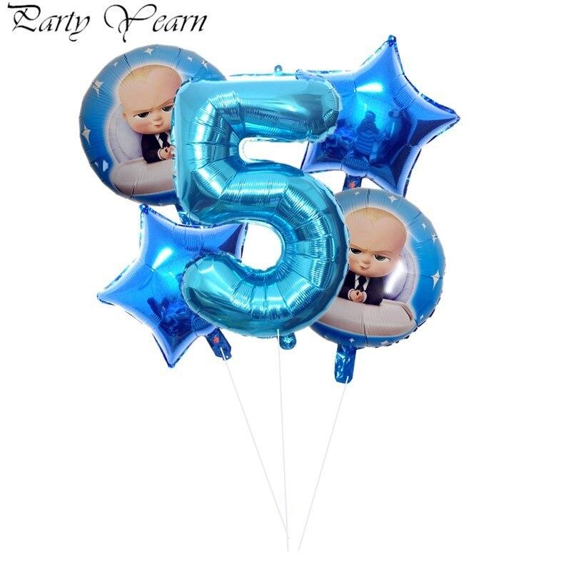 5 pçs chefe balão de bebê 32 polegada número da folha balões chuveiro do bebê 1 2 3 4 5 6st decoração da festa de aniversário dos desenhos animados hélio globos