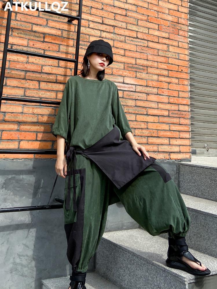 Meados de mangas compridas camisa feminina + bloomers solto casual terno feminino moda ocidental estilo gordura mm primavera terno feminino simples terno de duas peças