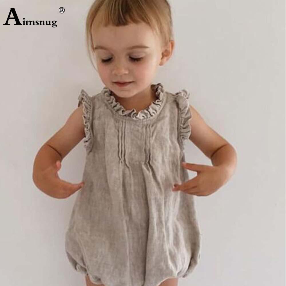 Комбинезоны для маленьких девочек, однотонные боди для маленьких девочек, повседневные топы с оборками, детская одежда, летнее милое Боди б...