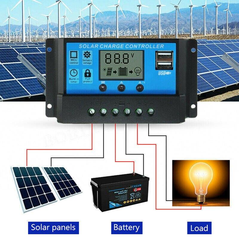 Contrôleurs solaires automatiques pour la maison 10A /20A /30A LCD MPPT panneau solaire régulateur de batterie contrôleur de Charge double USB avec 5V/2A