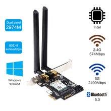 Double bande 2.4Gbps PCIe Wifi carte Gigabit carte réseau Bluetooth 5.0 Wi-Fi 6 AX200 adaptateur sans fil pour Pc de bureau Windows 10