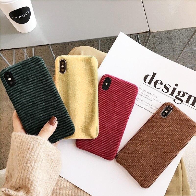 Fundas de teléfono de felpa Vintage de lujo para iPhone 11 Pro X XS Max XR funda de textura de tela para iPhone 7 8 Plus funda trasera suave Capa Coque