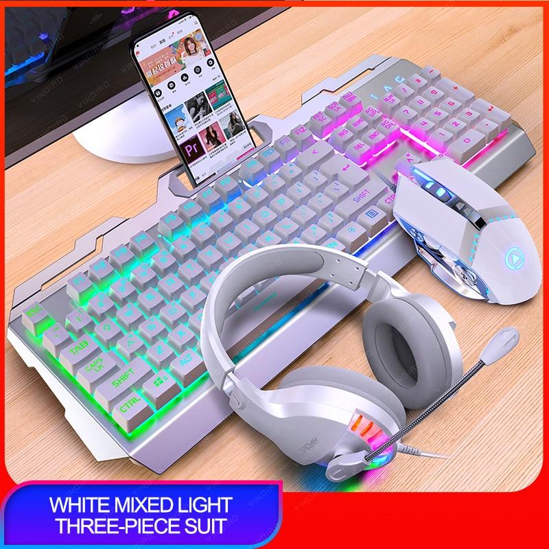 Gaming Keyboard Retro Round Glowing Keycap Backlit USB Wired Metal Panel Illuminated Border Waterproof