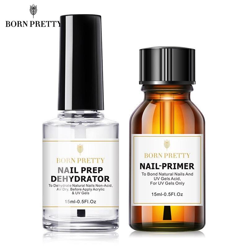 BORN PRETTY Nail Prep Dehydrator And Nail-Primer Set, Free Grinding Nail Art, No Need Of UV LED Lamp