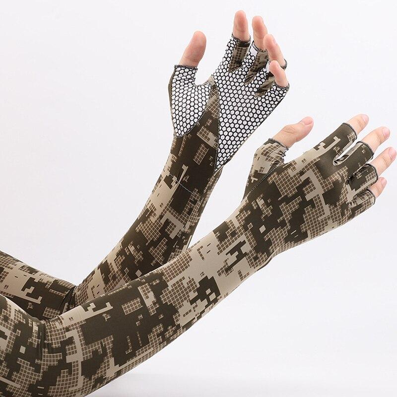 Мужские солнцезащитные перчатки, шелковые перчатки с принтом, тонкие перчатки для вождения, перчатки с длинным рукавом, Нескользящие перча...