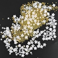 1pc mixed size resin white flowermetal beads 3d charms for nails salon design manicure decorations nail tips accessories h9002