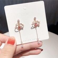 MENGJIQIAO 여성을위한 새로운 우아한 기하학 심장 크리스탈 롱 드롭 귀걸이 귀여운 섬세한 지르콘 파티 Pendientes 쥬얼리 선물