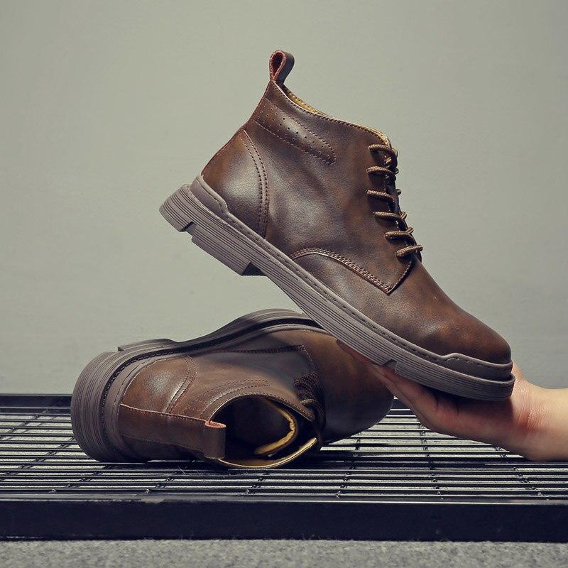 Yomior de alta calidad de cuero genuino de los hombres de primavera zapatos casuales de invierno botas de trabajo al aire libre botas de nieve de encaje zapatos clásicos