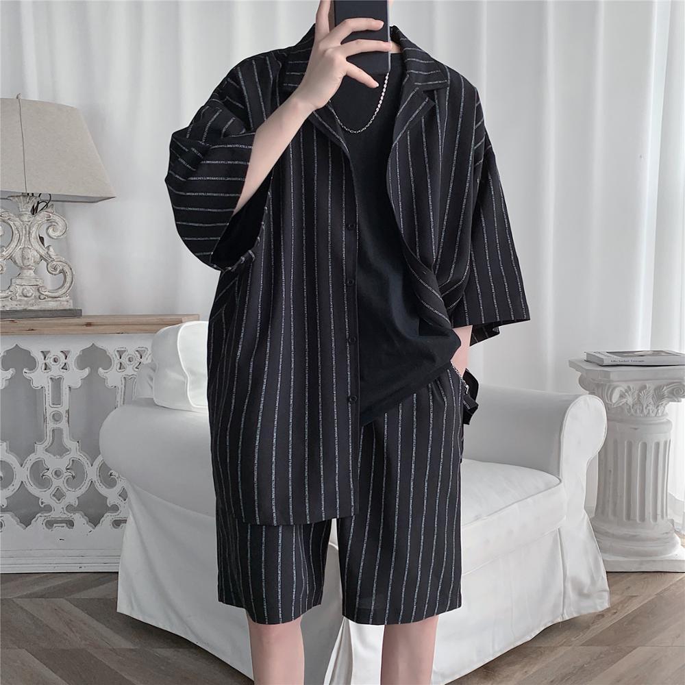 AliExpress - 2021 Summer Men Set Shirts and Shorts Lightweight Letter Striped Half Sleeve Knee-Length Baggy Short Oversize Suit Clothing Man