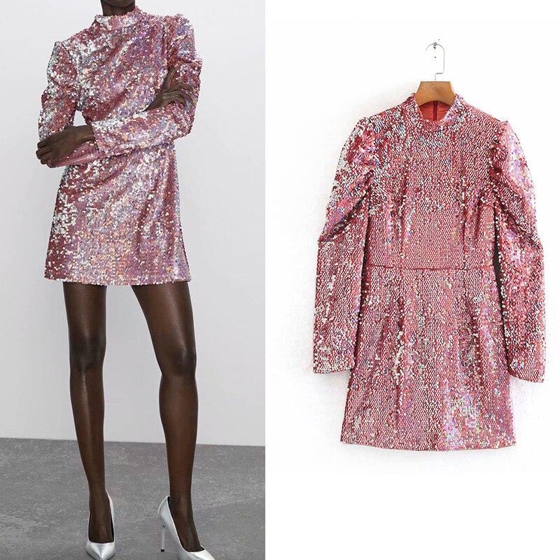 Sexy 2019 za vestidos de fiesta Rosa lentejuelas gran flash chip mini vestido de tubo para fiestas club vestidos de manga larga Mujer