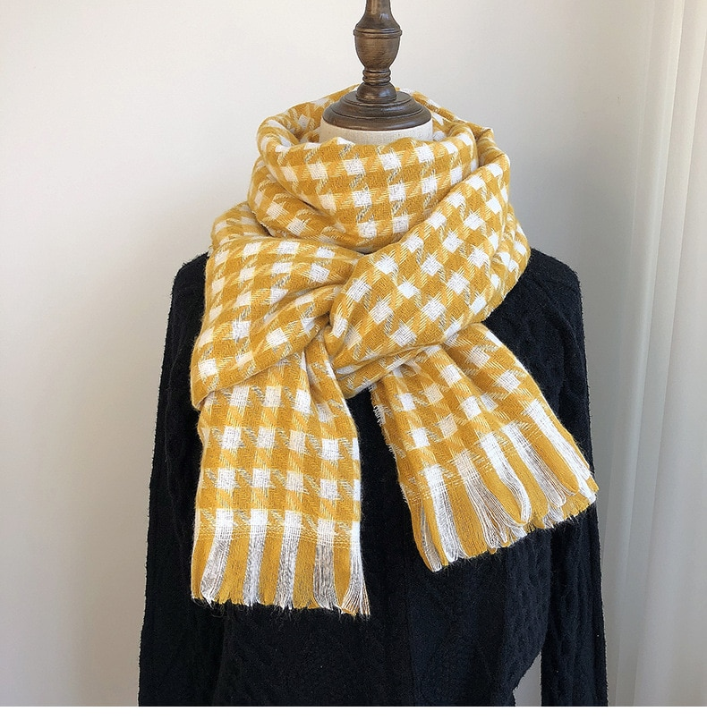Scarf women's winter 2021 new Korean version of thousands of bird case scarf imitation cashmere warm tassel shawl thickened