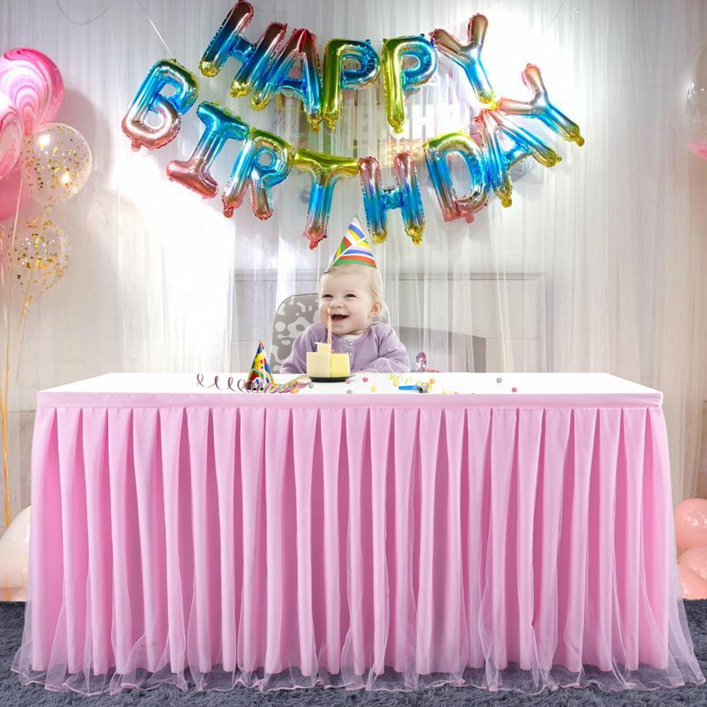 الوردي تول توتو مفرش طاولة طيات مفرش المائدة مأدبة المائدة ديكور الجدول تنورة الزفاف عيد ميلاد الطفل دش الطرف الديكور