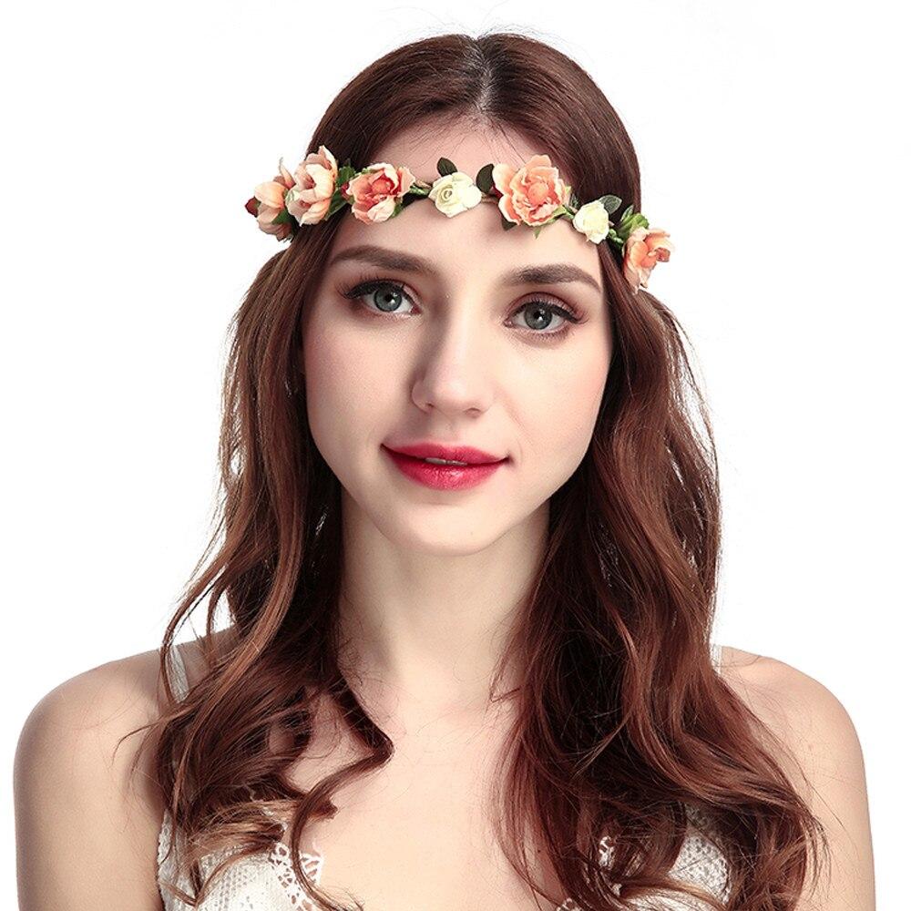 Popular rosa vermelha bohemia headwear casamento dama de honra noiva grinalda bandana seaside turismo bela flor artificial faixa de cabelo