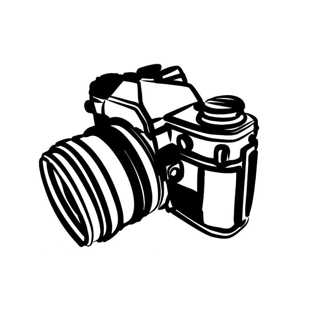Автомобильная наклейка, модная художественная фотография камеры, черная ПВХ/серебряная Автомобильная наклейка 15,1 см * 12,6 см