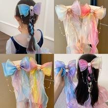 Children's Ponytail Chiffon Bow Ribbon Hairpin Braided Hair Girls Lengthened Streamer Hairpin Prince