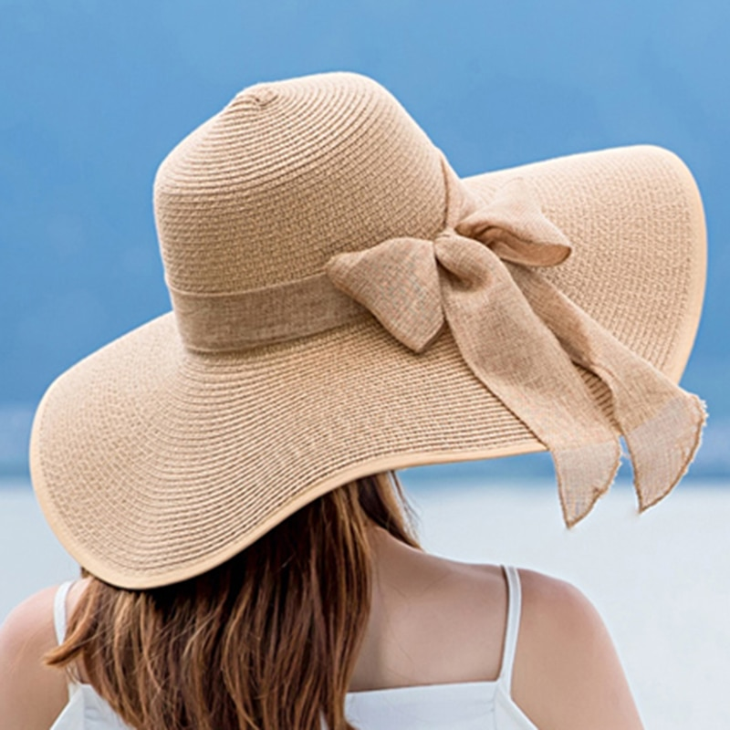 Elegant Ladies Summer Hats 2020 New Straw For Fashion Bow Women Beach Sun Foldable hat Chapeau Femme