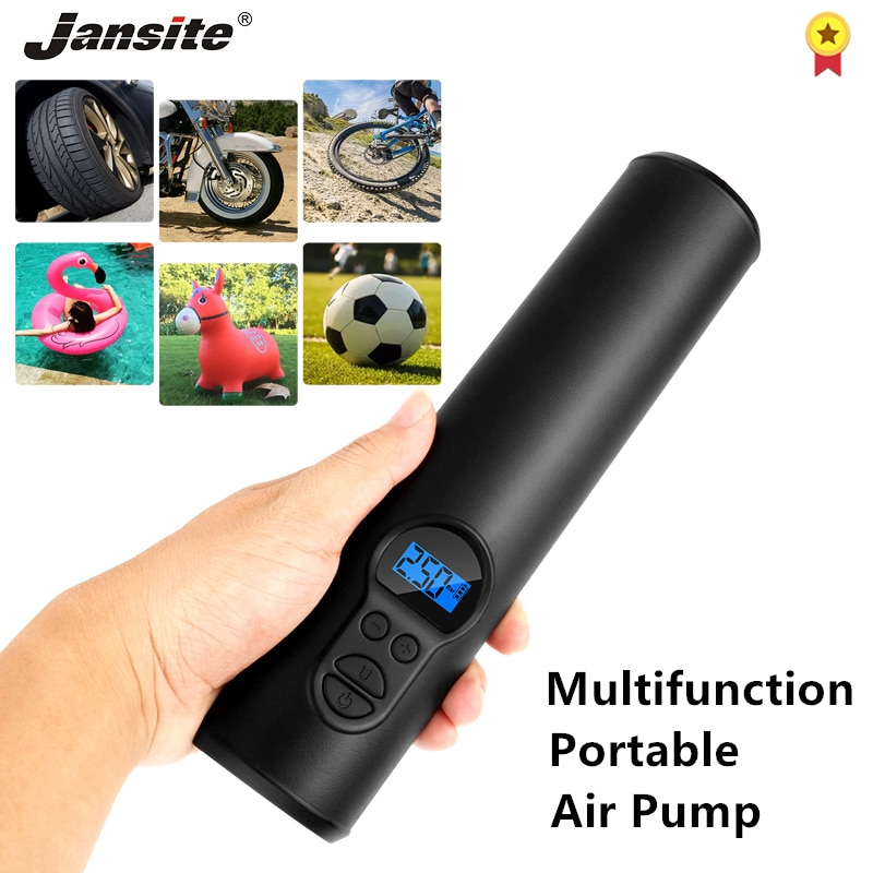 Jansite Car Electric Air Pump Portable Air Compressor Mini Tire Inflator Wireless LED Lamp for Balloon Bicycle Ball Inflatable 120w rechargeable air compressor wireless inflatable pump portable air pump car tire inflator digital for car bicycle balls