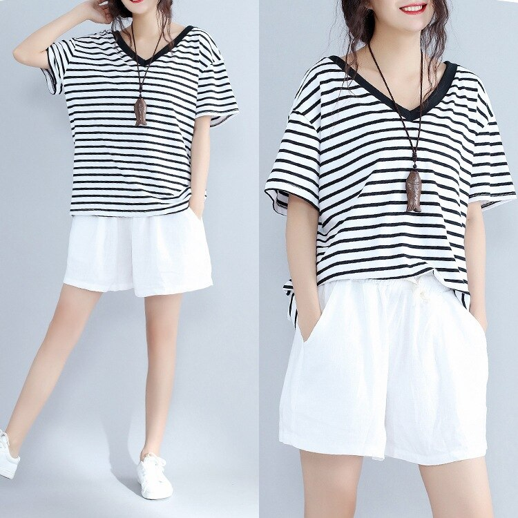 Nueva camiseta de verano para mujer, cuello en V, camiseta Casual, camiseta de talla grande para chicas, camiseta de manga corta