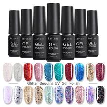 Esmalte de uñas de Gel LILYCUTE con purpurina y lentejuelas, colorido, brillante largo, duradero, barniz Gel UV de manicura en Gel, 8 colores