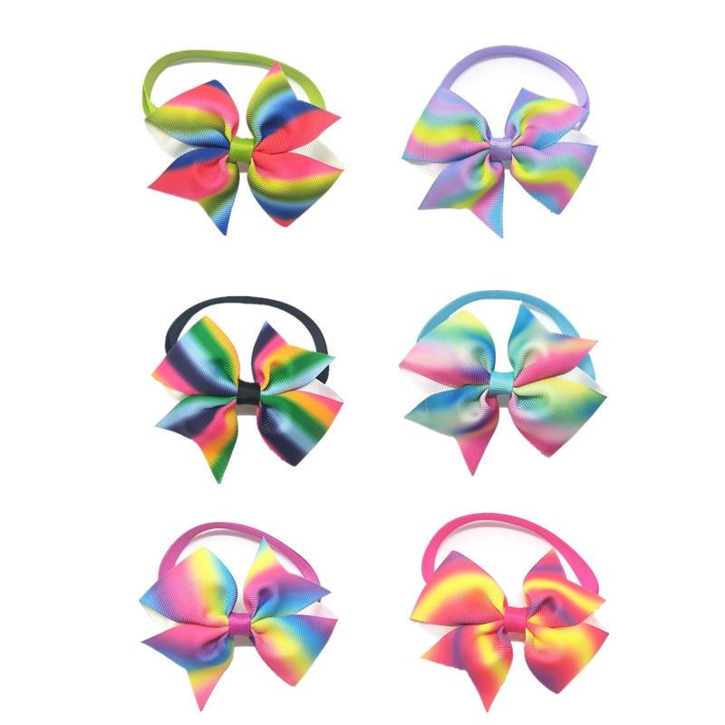 30/50pcs Pet Cat Dog Colorful  Rainbow BowTies Holiday Bowties Collar Puppy Adjustable Ties Grooming Supplies