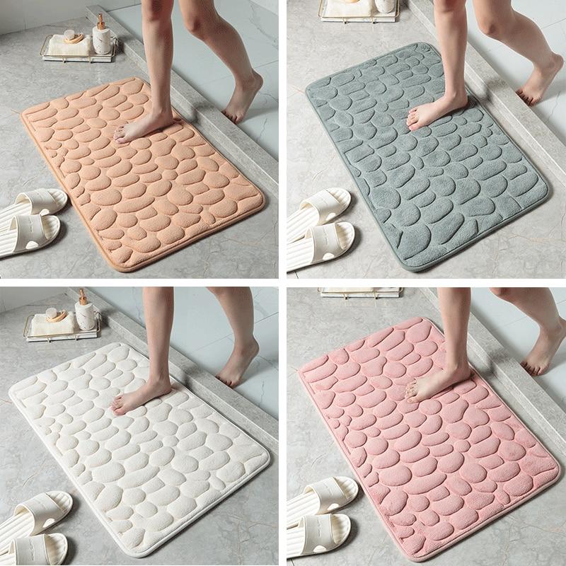 Абсорбирующий коврик для ванной с 3D гальками, Противоскользящий коврик для ванной, для стиральной машины, гостиной, спальни, туалета, наполь...