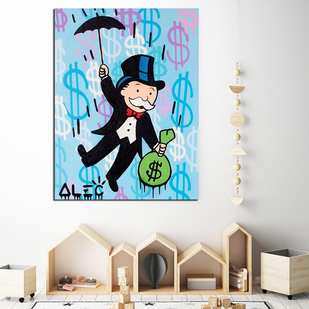 Cuadros de lienzo de Graffiti para decoración del hogar, pinturas de pared, pinturas de monopolio de leva, paraguas con impresiones, póster moderno Modular de dólar para sala de estar