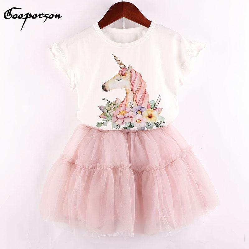 Nueva marca de Ropa para Niñas, conjunto de unicornio con flores estampado para chicas, conjuntos de verano, Camisa de algodón y falda de tutú, conjunto de 2 uds para niños y bebés