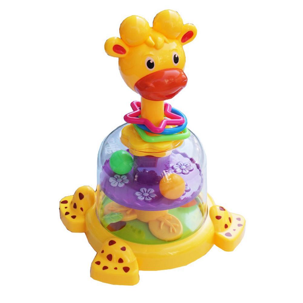 Вращающаяся игрушка-Жираф для младенцев, механический скользящий классический обучающий игрушечный пресс с распознаванием цветов, лучший ...
