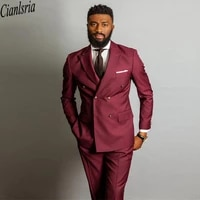 hot sale burgundy double breasted wedding suits peaked lapel slim fit mens business tuxedos two pieces groomsmen wear